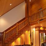 log home railing was created on site.